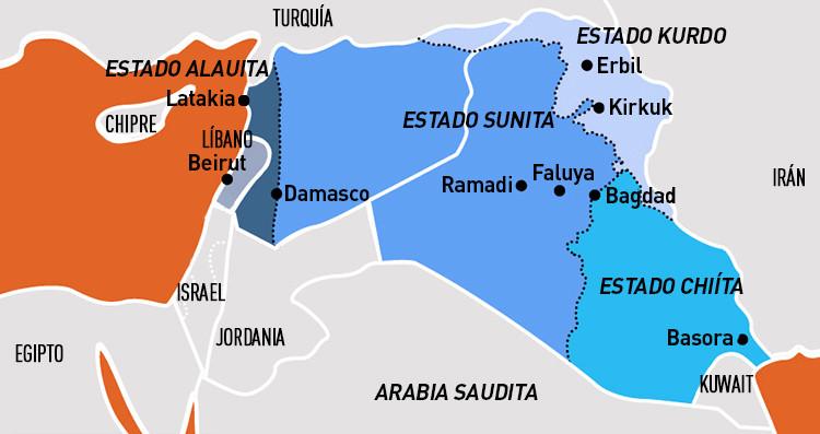 Hipotética reorganización de Siria e Irak