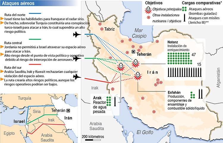 Posibles ataques que podría lanzar Israel contra centrales nucleares de Irán