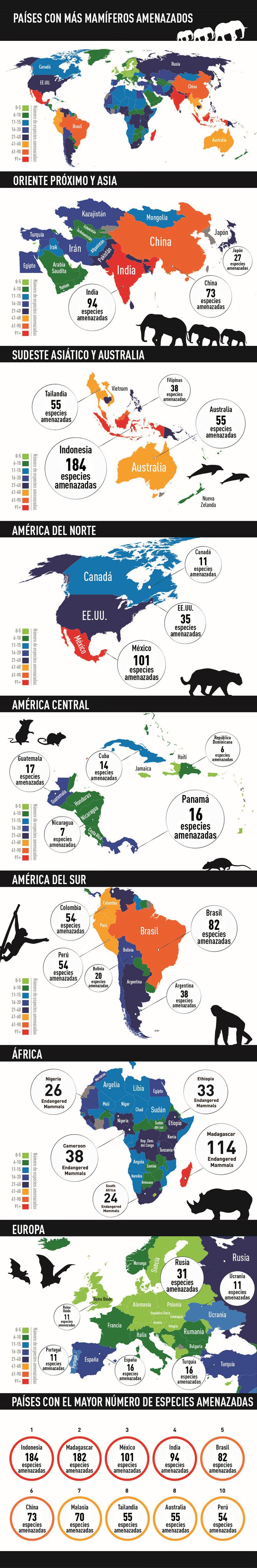 De Indonesia a México: ¿dónde hay más mamíferos amenazados?