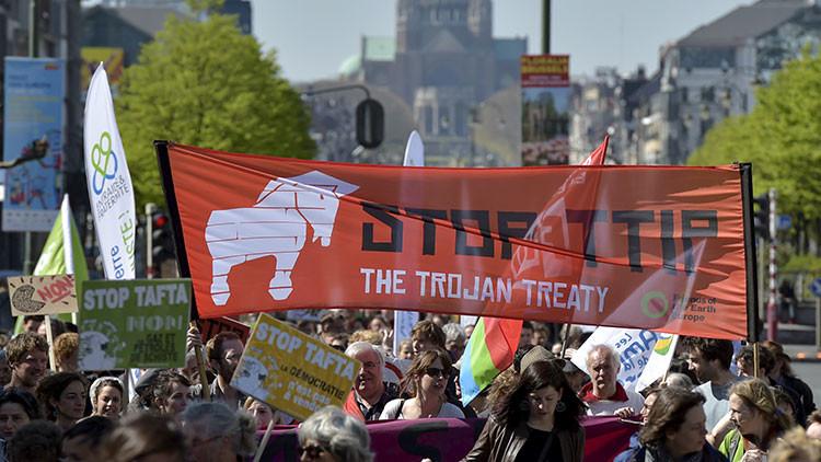 Una marcha en contra del TTIP en Bruselas