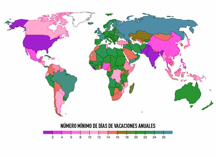 Números de días de vacaciones anuales por países