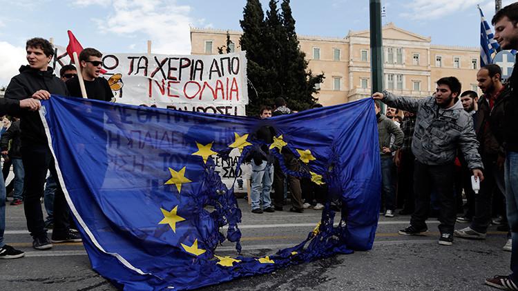 protesta, la bandera de la UE