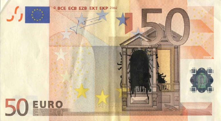 Un artista griego utiliza billetes de euro como lienzo para representar la crisis