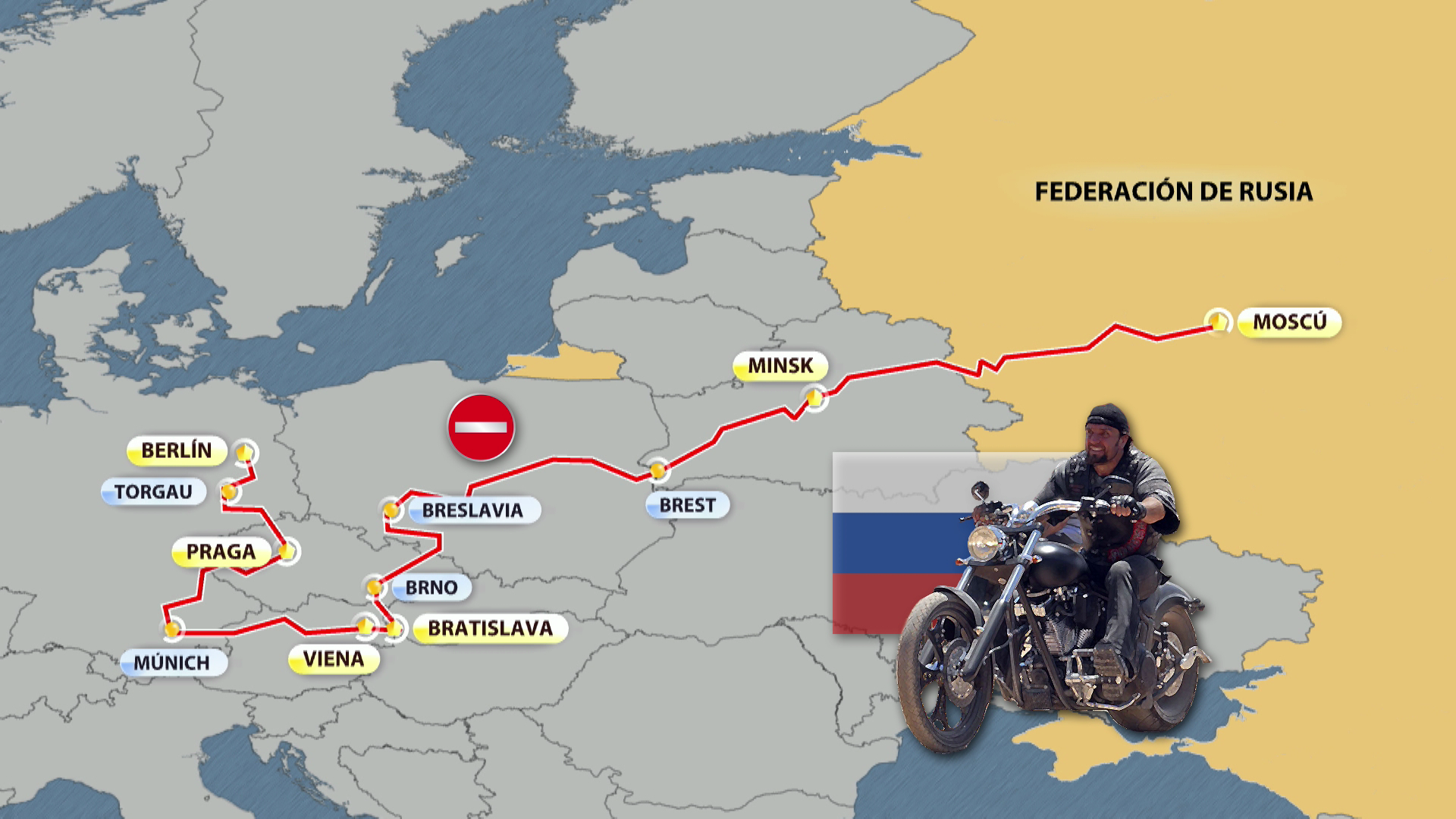 Moteros rusos recorren Europa por Victoria en la Segunda Guerra Mundial