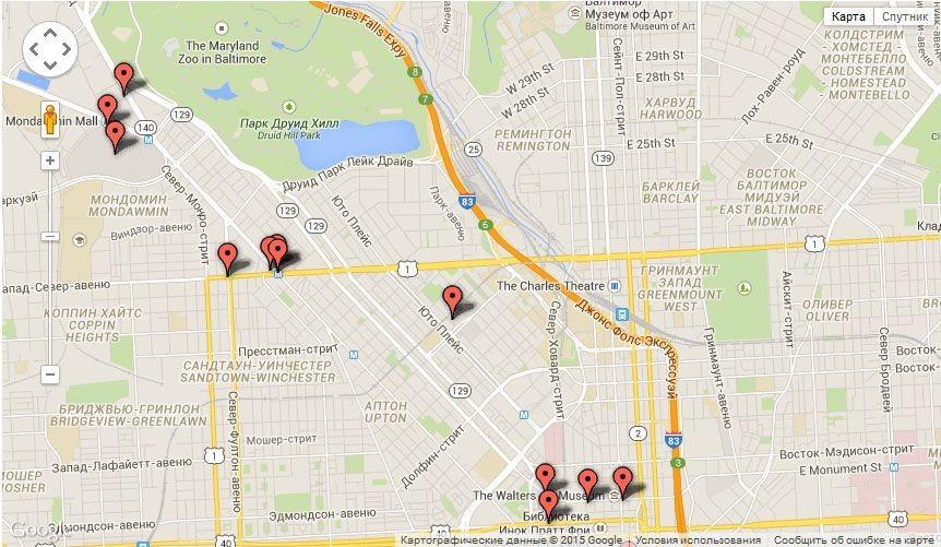El mapa de disturbios en Baltimore