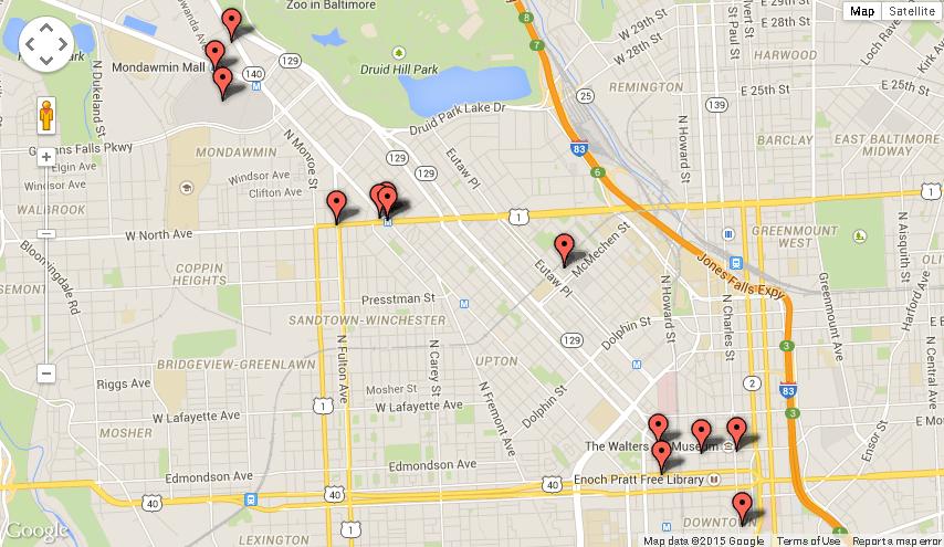 Mapa de los disturbios en Baltimore
