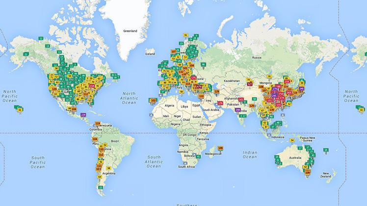 Mapa virtual: La contaminación del aire en todo el planeta en tiempo real