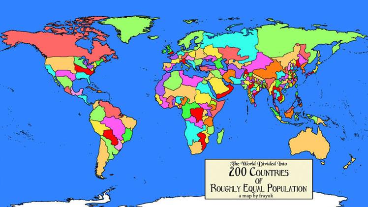 Mapamundi: Cómo serían las fronteras si todos los países tuvieran la misma población