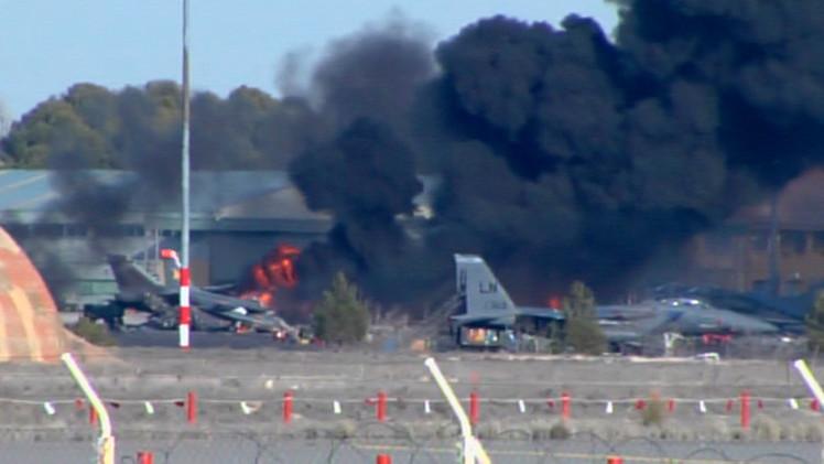Foto ilustrativa / F-16 se estrella en una maniobra de la OTAN en Albacete