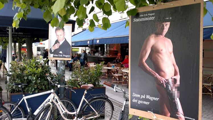 Dinamarca: Carteles con el candidato a primer ministro desnudo llenan las calles de Copenhague