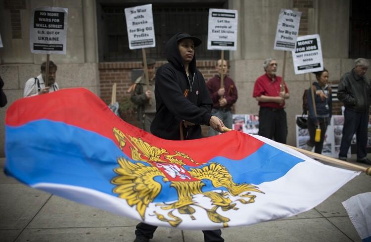 """Nueva York: Manifestantes llaman a poner fin al """"terror respaldado por EE.UU. en Ucrania"""