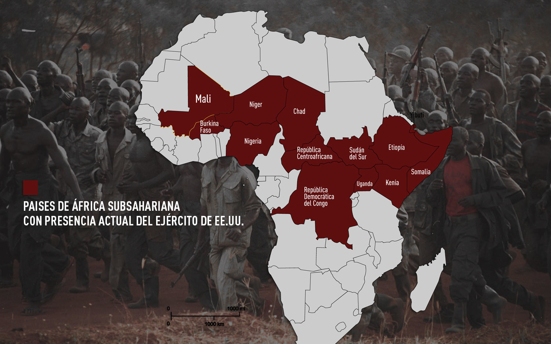 Paises de África subsahariana con presencia actual del Ejército de EE.UU.