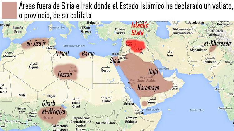 Provincias con representación del Estado Islámico