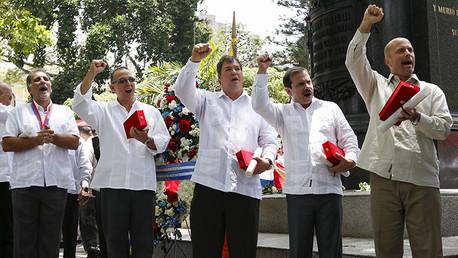 'Los Cinco' cubanos reciben llaves de Caracas