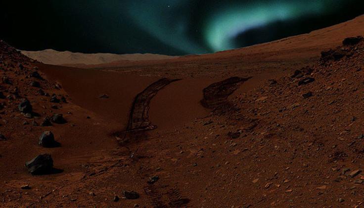 Los astrónomos descubren una aurora azul brillante en la noche marciana