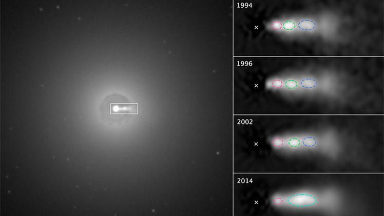 Captan por primera vez la colisión de las masas de plasma dentro del chorro de un agujero negro
