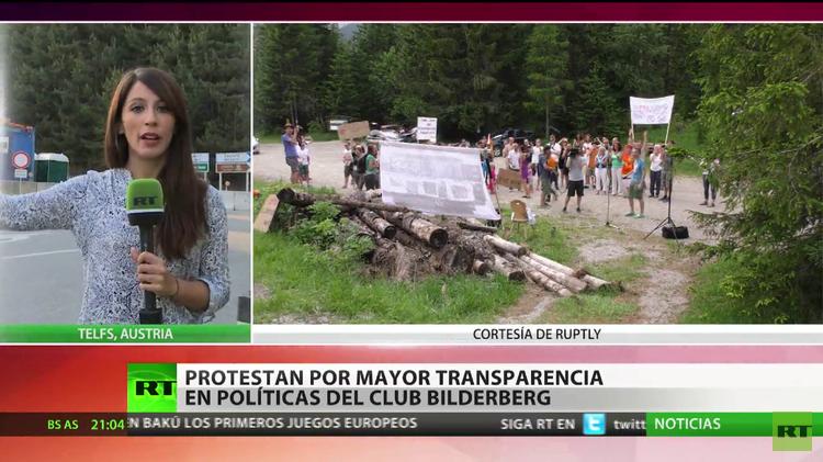 Protestan pidiendo transparencia en la política del grupo Bilderberg