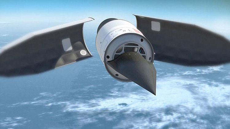 Impresión artística de un misil hipersónico siendo probado.