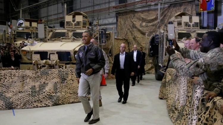 El presidente Barack obama durante la visita a la base de Bagram
