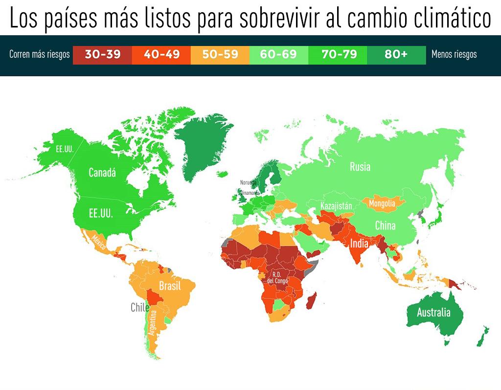 Mapa: Los países mejor y peor preparados para afrontar el cambio climático