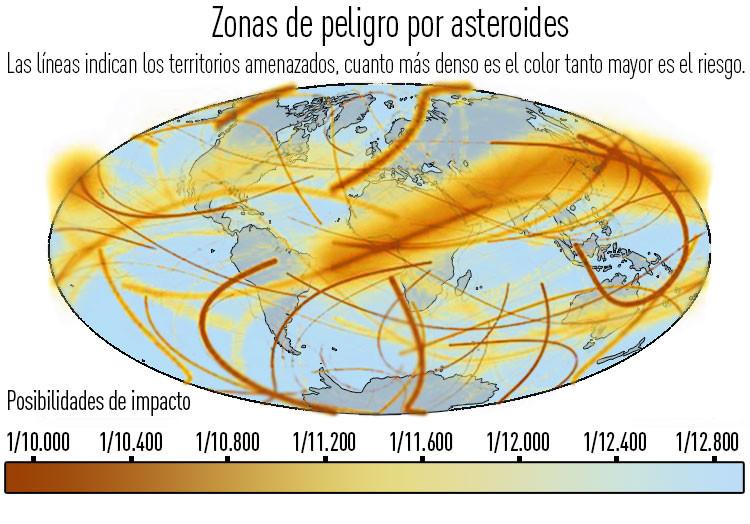 Mapamundi: ¿Corren españoles, franceses y alemanes mayor riesgo de morir por impacto de asteroide?