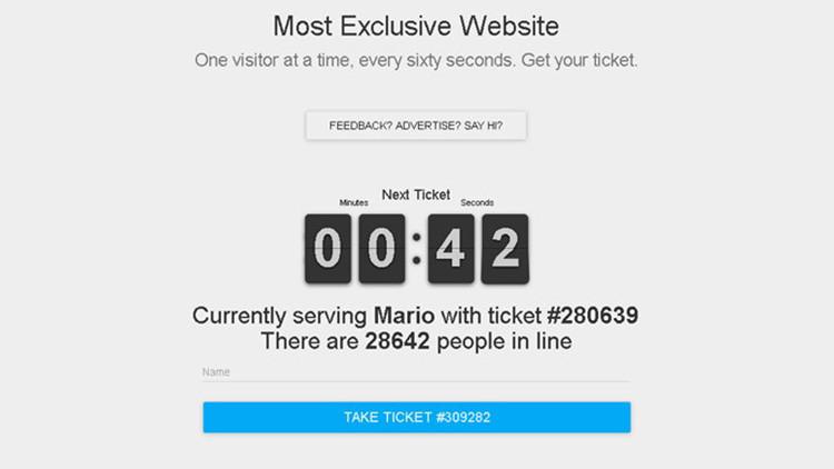 """Página que puede ser visitada solo por un usuario: ¿Cómo es """"el sitio web más exclusivo""""?"""