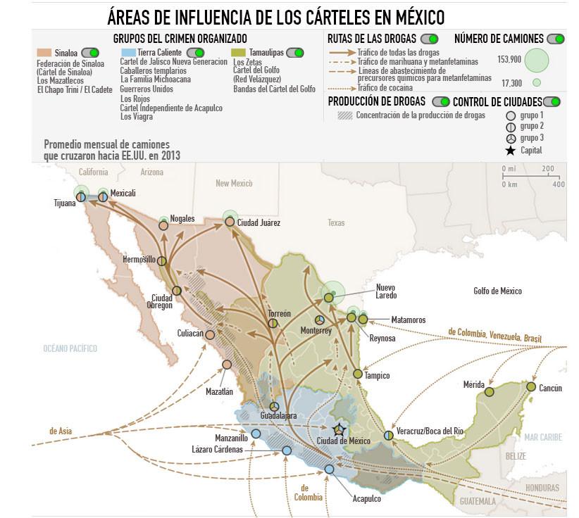 Mapa de las áreas de influencia de los carteles de México