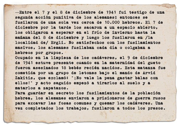 Declaraciones de un habitante de un gueto judío en Letonia