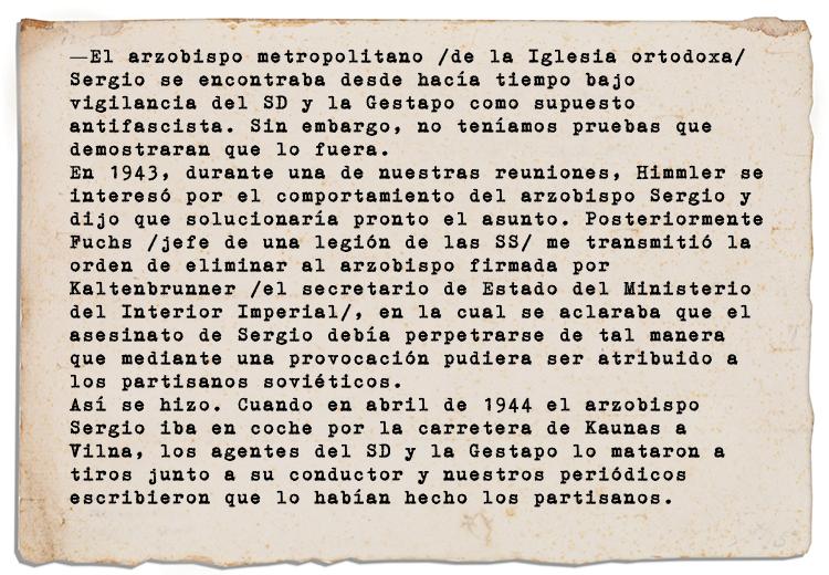 Declaraciones del jefe de seguridad del Comisariado para las tierras del Este, Friedrich Jeckeln
