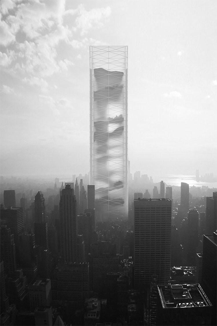 """El rascacielos de futuro: El """"jardín secreto"""" con montañas, desierto, pantanos y cascadas adentro"""