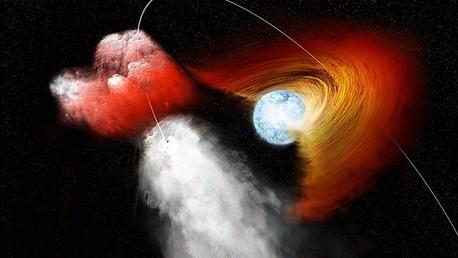 Una estrella de neutrones dispara con un fragmento del disco estrellar