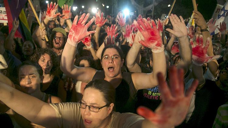 """""""Terror judío"""": Miles de israelíes se manifiestan contra la violencia y el fanatismo"""