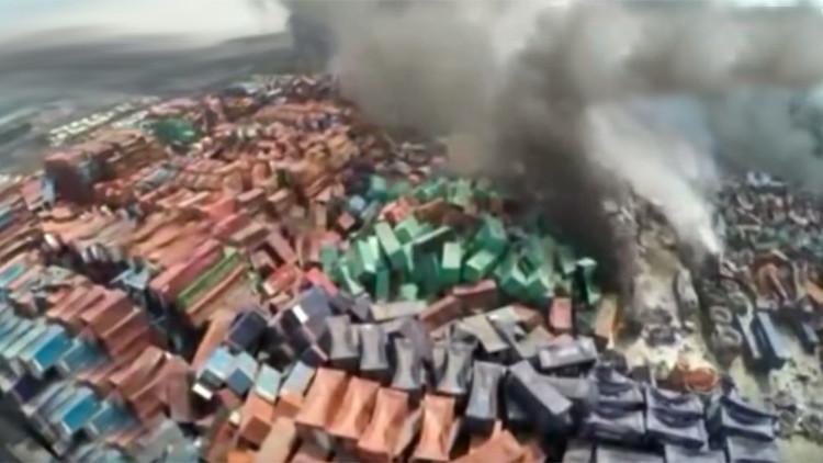 Nuevo video: Apocalípticas imágenes de las devastadoras explosiones en China a vista de dron