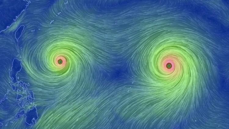 Potentes tifones gemelos se acercan a Taiwán y Japón