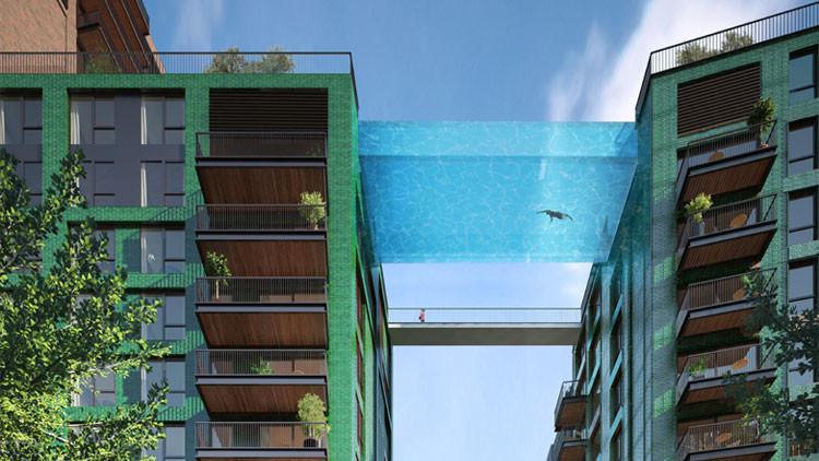 Proyectan una piscina transparente suspendida entre dos edificios