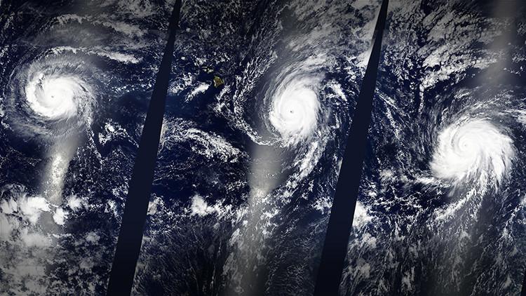 Impactantes fotos: Tres huracanes de categoría 4 se forman simultáneamente en el Pacífico