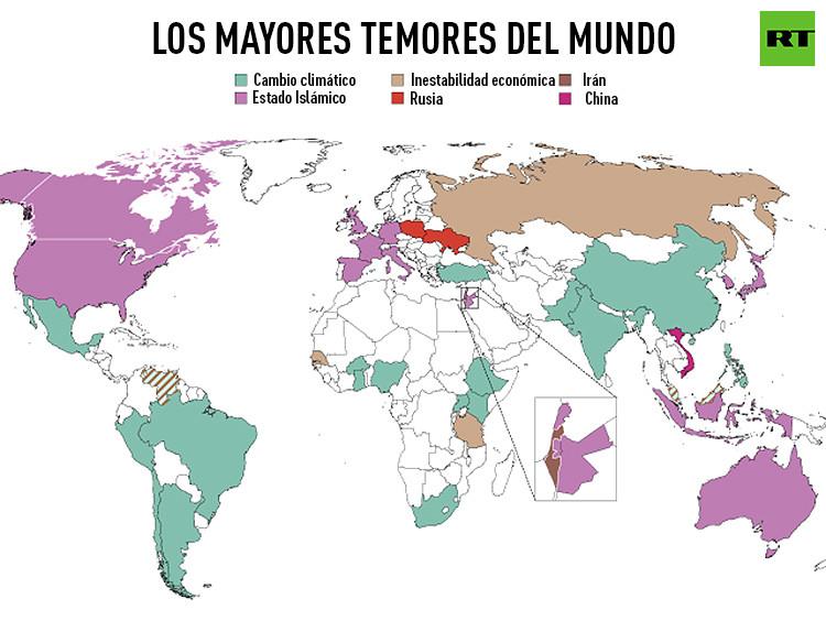 Mapa de las mayores amenazas para el mundo en función de los países
