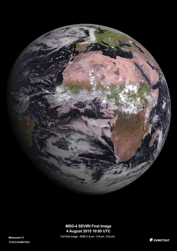 Elsatélite meteorológico MSG-4 envió sus primeras imagines de la Tierra