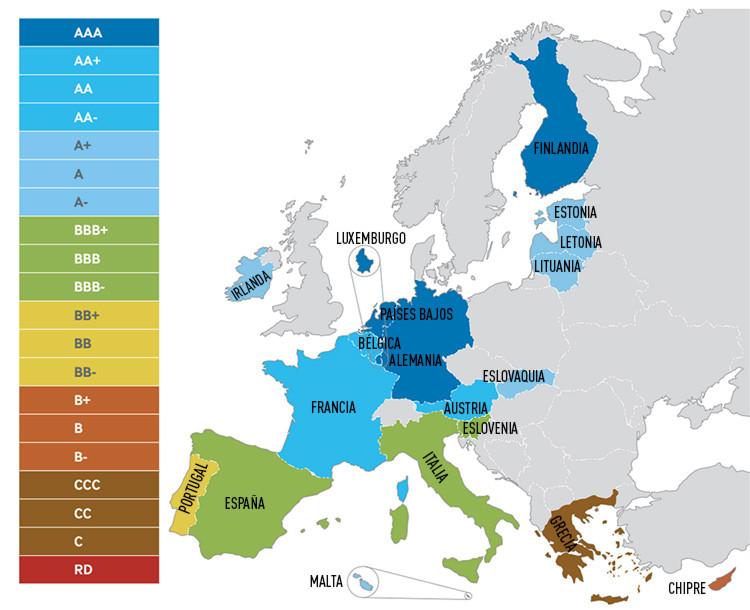El mapa que muestra la división de la colosal deuda de Europa