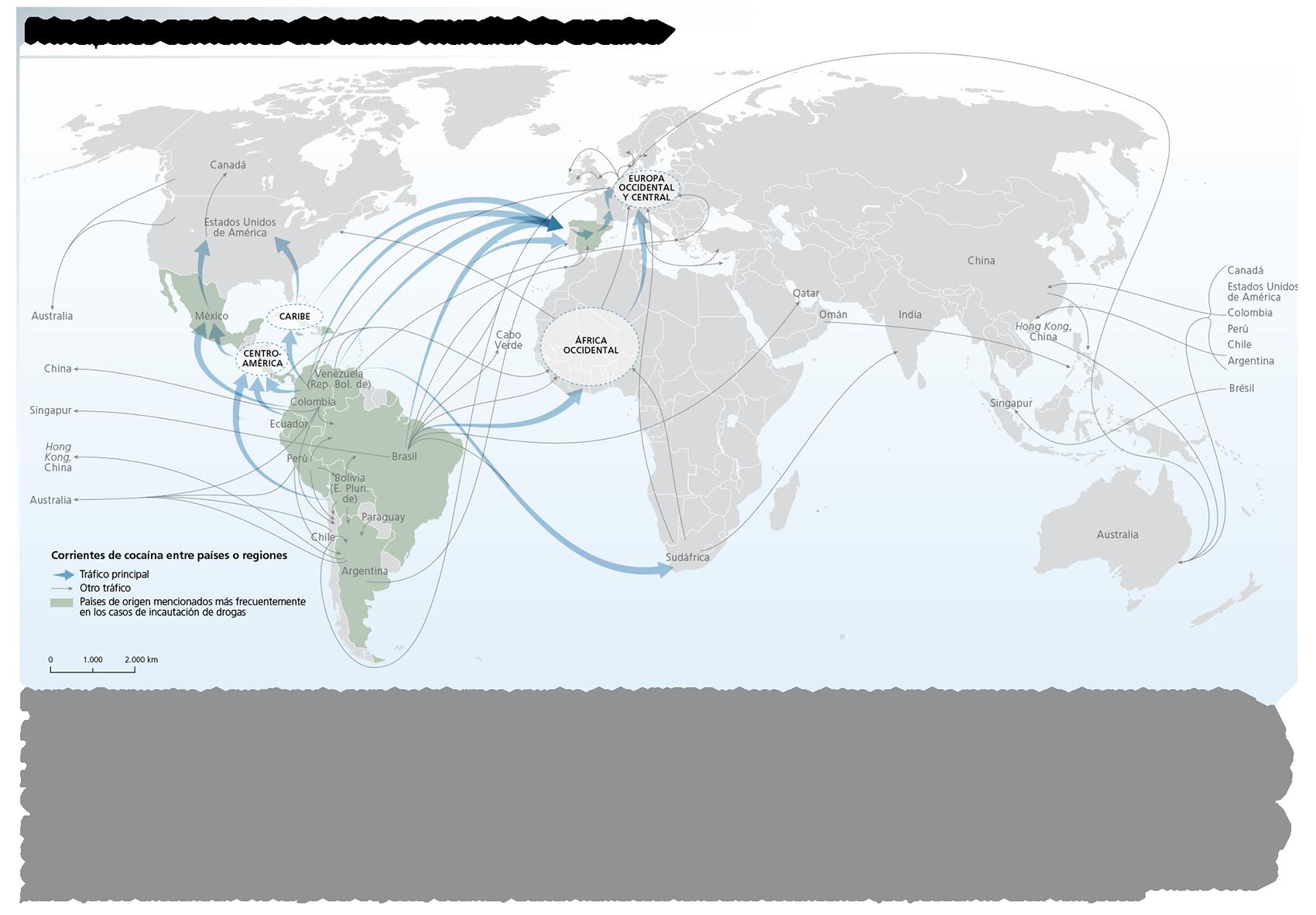 Principales corrientes del tráfico mundial de cocaína