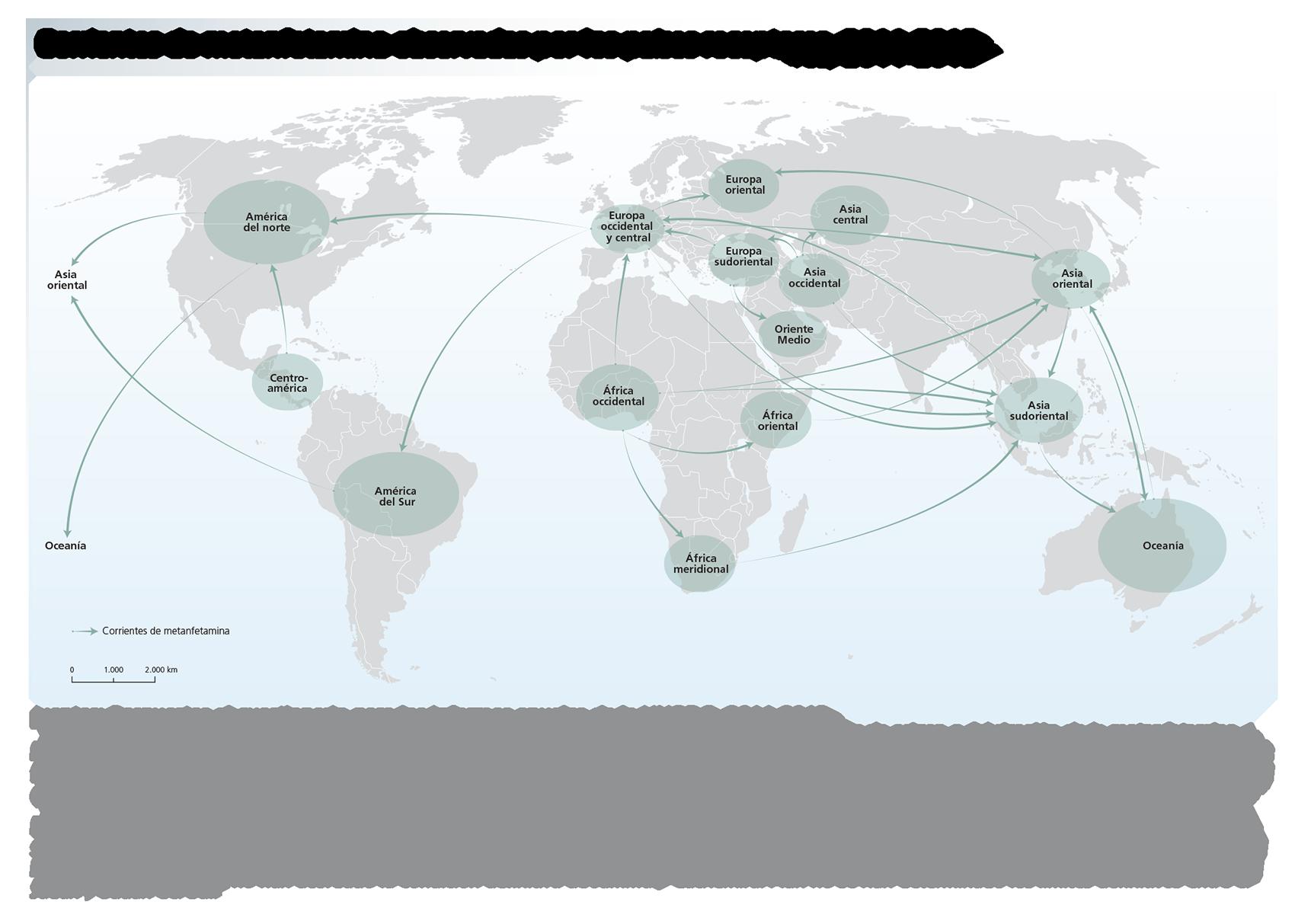 Corrientes de metanfetamina observadas por los países receptores, 2011-2013