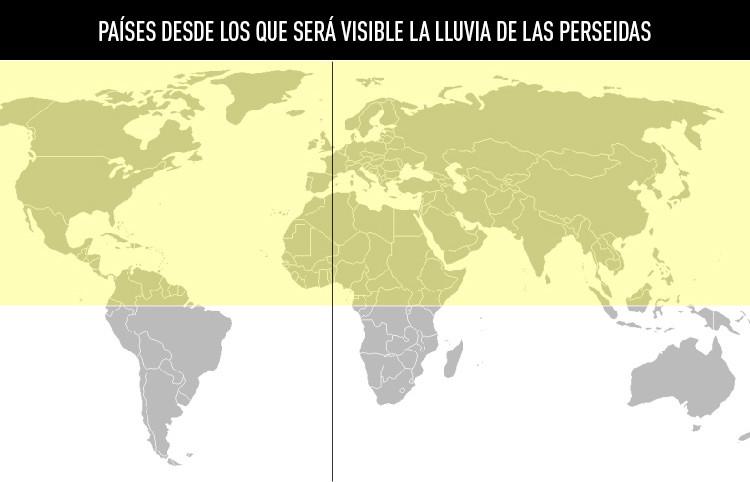 Países desde los que será visible la lluvia de las Perseidas