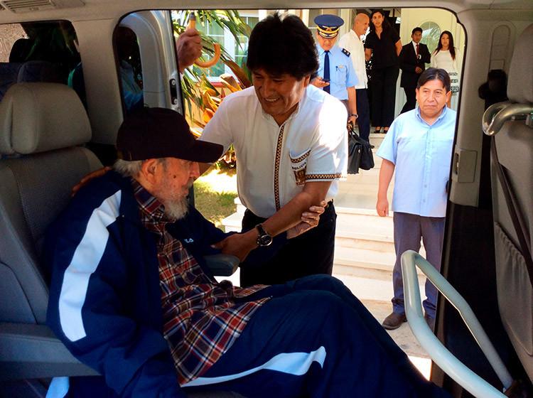 Fidel Castro celebra su cumple acompañado por los presidentes Maduro y Morales