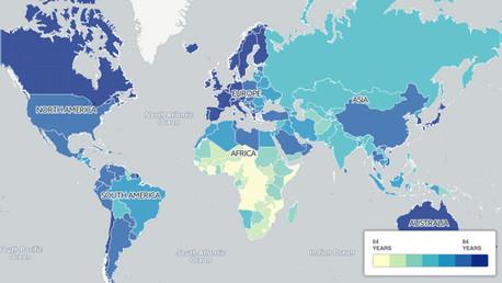 Mapamundi: En cuales países se vive más y menos