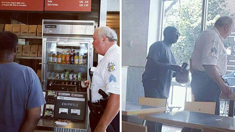 Un agente de policía compra comida para un hombre sin hogar y conmueve a los estadounidenses