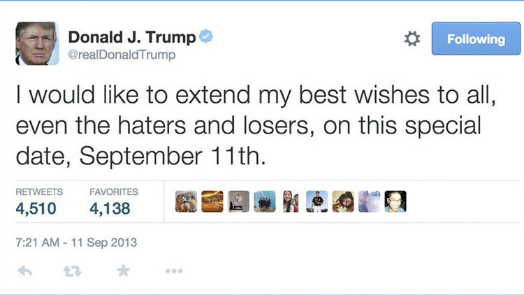 Trump elimina un controvertido tuit que publicó el 11 de septiembre de 2013 y reabre la polémica