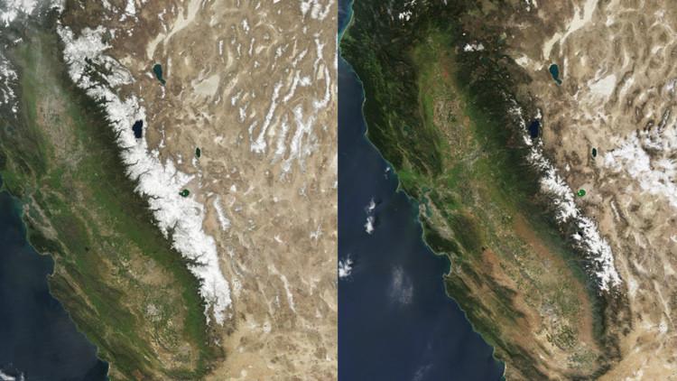 Fotos impactantes: El deshielo de las montañas de California agudiza la sequía en el estado