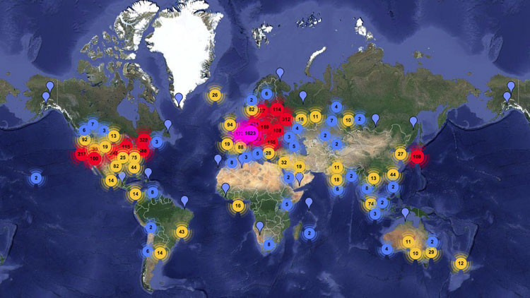Mapamundi: La red de anonimato Tor se expande asombrosamente por todo el mundo