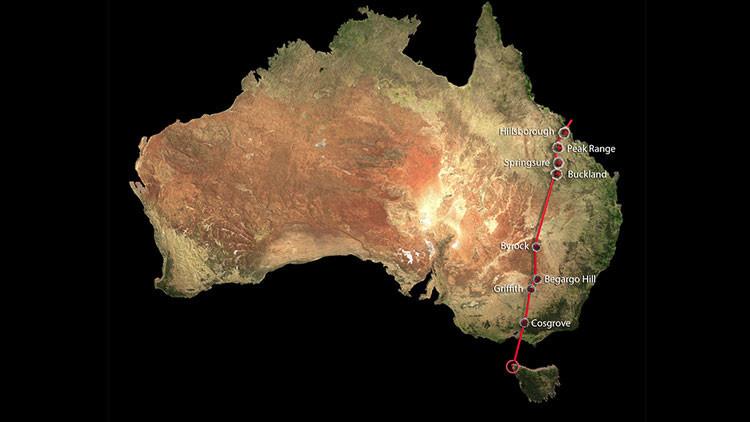 Australia está atravesada de norte a sur por una cadena volcánica de 2.000 km