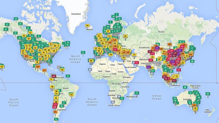 Un nuevo mapa interactivo muestra en vivo los niveles de polución aérea en ciudades de todo el mundo